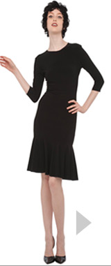 3/4 sleeve crewneck flounce dress
